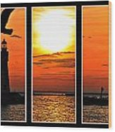 Peaceful Sunset Triptych Series Wood Print
