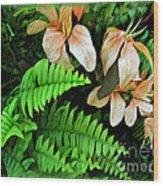 Peach Floral Wood Print