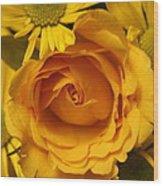 Peach Rose-yellow Daisies Wood Print