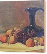 Peaches And Blue Pitcher Wood Print