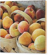 Peaches Wood Print