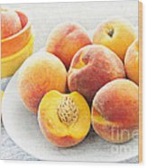 Peaches On Plate Wood Print