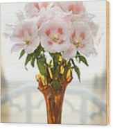 Peachy Gladiolas Wood Print