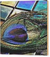 Peacock Feather On Tiles Wood Print