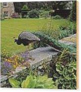 Peacock In Formal Garden, Kilmokea, Co Wood Print