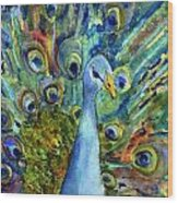 Peacock Party Wood Print