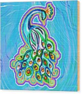 Peacock Swirl Wood Print
