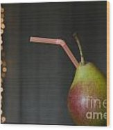Pear With Straw Wood Print