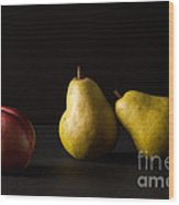 Pears And Peach Wood Print