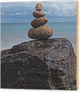 Pebble Sculpture Wood Print