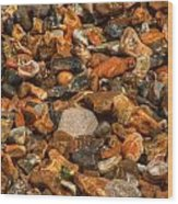 Pebbles And Stones On The Beach Wood Print