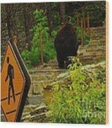 Pedestrian Crossing My Big Bear Booty Wood Print