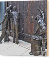 Peeking At Baseball Game Sculpture Wood Print