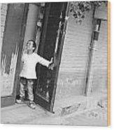 Peeking Out From Door Wood Print