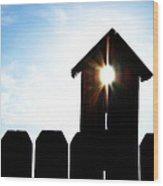 Peeking Sunlight Through A Birdhouse Wood Print