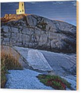 Peggys Cove Lighthouse Nova Scotia Wood Print