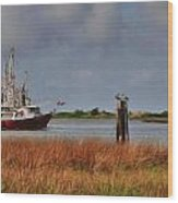 Pelican And The Red Shrimpboat Wood Print