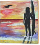 Pelican And The Surfer Girl Wood Print