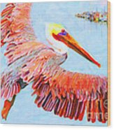 Pelican Flying Back To The Docks Wood Print