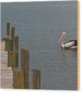 Pelican In The Water Next To A Timber Landing Pier Wood Print