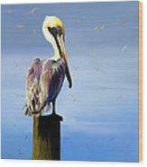 Pelican Perch Wood Print by Suni Roveto