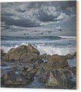 Pelicans Over The Surf On Coronado Wood Print