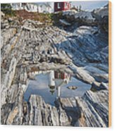 Pemaquid Point Reflections Wood Print by George Oze