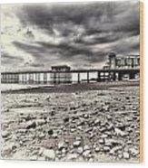 Penarth Pier Cream Wood Print