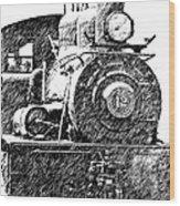 Pencil Sketch Locomotive Wood Print