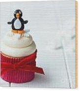 Penguin Cupcake Wood Print