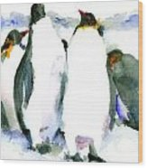 Penguin Lovers Wood Print