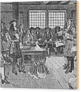 Penn And Colonists, 1682 Wood Print