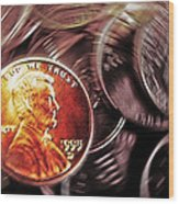 Pennies Abstract 3 Wood Print by Steve Ohlsen