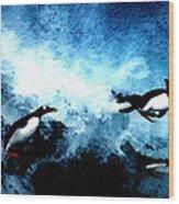 Penquin Joy Play  In Huge Waves Wood Print