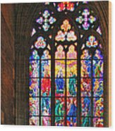 Pentecost Window - St. Vitus Cathedral Prague Wood Print by Christine Till