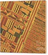 Pentium Computer Chip Wood Print by Michael W. Davidson
