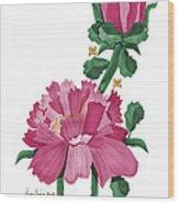 Peony In Pink Wood Print by Anne Norskog