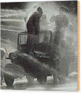 People Are Sprayed At The Water Wood Print by James L. Stanfield