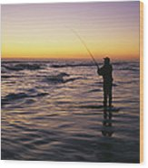 People Are Surf Fishing For Red Drum Wood Print