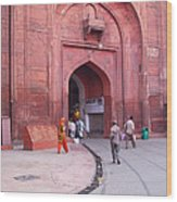 People Entering The Entrance Gate To The Red Colored Red Fort In New Delhi In India Wood Print