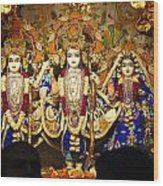 People Offering Prayers At The Iskcon Temple In Delhi Wood Print