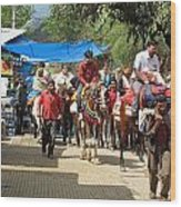 People On Horseback And On Foot Making The Climb To The Vaishno Devi Shrine In India Wood Print
