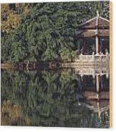 People Resting Under Pagoda On Hoan Wood Print