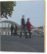 People Walk Along The Rhine River Wood Print