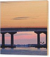 Perdido Bridge Sunrise Closeup Wood Print