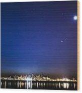 Perseid Meteor In Seattle Wood Print by Yoshiki Nakamura