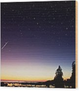 Perseid Meteor Trail Wood Print by David Nunuk