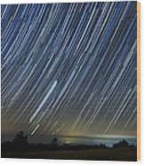 Perseid Smoky Mountain Startrails Wood Print by Daniel Lowe