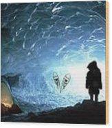 Person In Ice Cave, Appa Glacier Wood Print