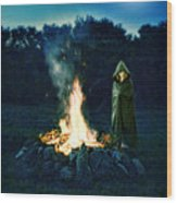 Person Standing By A Bonfire In The Moonlight Wood Print